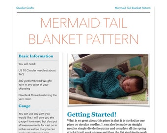 Mermaid Tail Blanket Knitting Pattern, Knitting Pattern, Baby Blanket, Baby Bunting, Little Mermaid, Little Mermaid Outfit, Digital Pattern