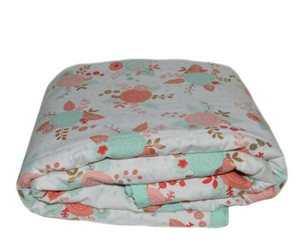 Floral Crib Comforter, Coral Mint and Gold Toddler Bedding, Toddler Bedding Set