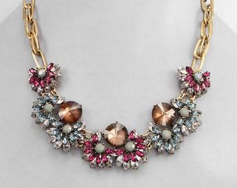 Gray, Burgundy & Topaz Crystal Statement Bib Necklace