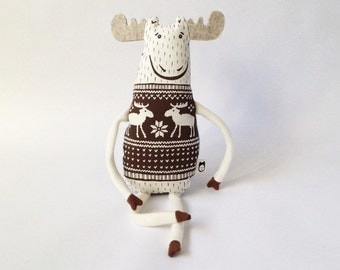 Mister Moose, Screen Print Moose Stuffed Animal Plush