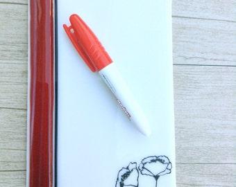 Dry erase fused glass memo  , fused glass white board, note pad memo board