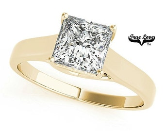 Engagement Ring  1.05 Carat 5.5 mm  Solitaire Forever one Princess Cut  Moissanite  14 kt. Yellow Gold #7593