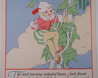SALE!!!  Jack and the Beanstalk Print by T.S.R, Reliance PF Publishing Company