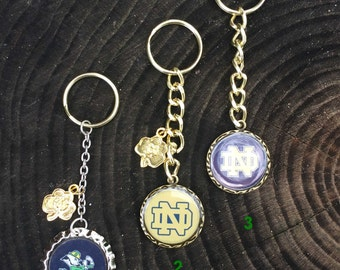 Notre Dame Key Chains with Gold plated Shamrock