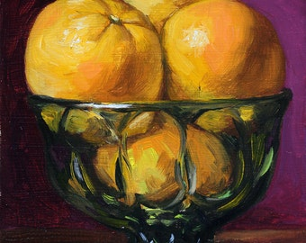 Kitchen Painting, Oranges in a green glass bowl, daily painting by Aleksey Vaynshteyn