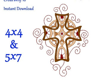 Cross Embroidery Design 4 of 10 - Religious Embroidery Design for 4x4 and 5x7 hoops - Ornate Cross - Christian - pes jef exp vip vps dst hus