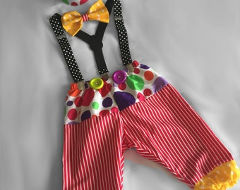 Clown Cake Smash Outfit...Baby boy 1st Birthday Outfit...1st Birthday dressup...Cake Smash Outfit...Baby photo shoot outfit...
