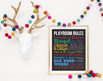 Playroom Rules Printable 16x20   Playroom Decor   Playroom Sign   Playroom Wall Art   Playroom Poster   Playroom Print   Colorful Playroom