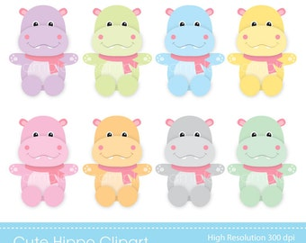 Digital Clipart - Cute Hippos for Scrapbooking, Invitations, Paper crafts, Cards Making, INSTANT DOWNLOAD printable