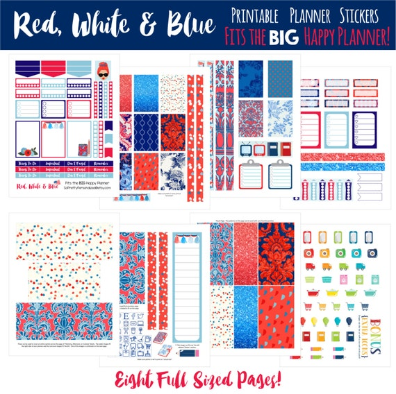 Red, White & Blue - Fits The BIG Happy Planner!  Printable Planner Stickers - 8 Full Pages!  Great for July!