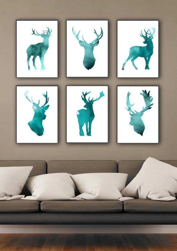 Set of 6 Deer Figurine Art Print Teal Home Decor Antlers