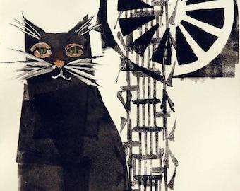 Whimsical art, cat art, original art, monotype, whimsical animal art, one of a kind art, monoprint, contemporary art, whimsical print, cats