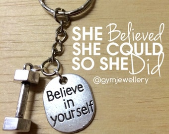 Believe in yourself fitness jewelry dumbbell keychain weight lifting necklace motivation jewelry dumbbell necklace weight training