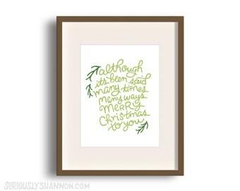 """Christmas Art Print, """"Merry Christmas to You"""""""