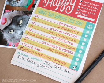 Funny Holiday Card Set of 8, Easy to fill out flat cards