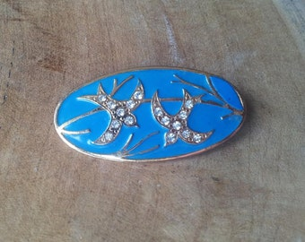 Swallow  Brooch - Blue - Oval - Rhinestones