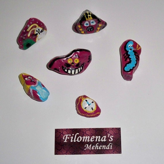 Alice in Wonderland Hand Painted Stones