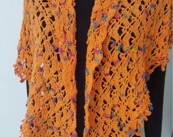 Free shipping,Orange Shawl, Crochet Shawl, Triangle shawl,Romantic shawl, Cotton shawl,Summer shawl,OOAK shawl,mesh shawl,Gift for mother