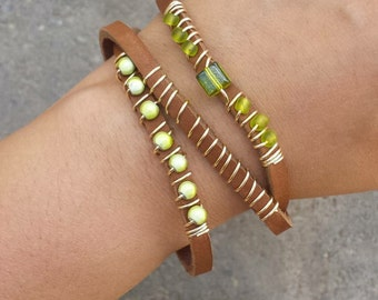 Green Leather Wrap