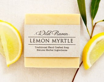 Lemon Myrtle Soap // Handmade with All Natural Herbal Ingredients // Traditional Cold Process Soap // Vegan & Palm Oil Free
