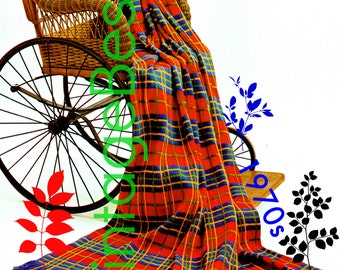 INSTANT DOWNLOAD - PdF Pattern - Afghan KNITTING Pattern Vintage 1970s Forte Plaid Knitting Pattern Fringe