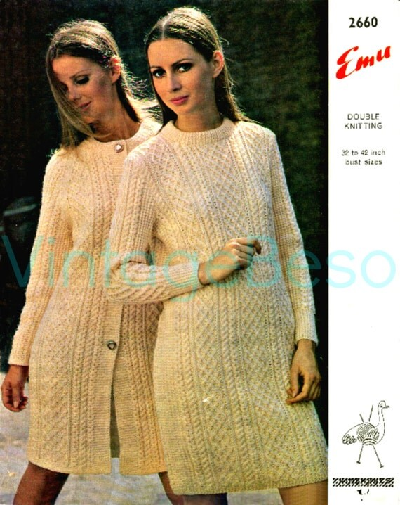 Aran Sweater Dress Knitting Pattern 2 PATTERNS by VintageBeso