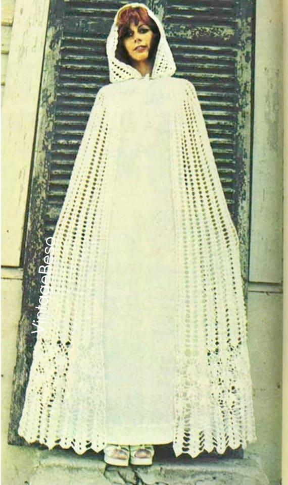 CLOAK Instant Download Pattern PDF 1970s Vintage Hooded Cloak