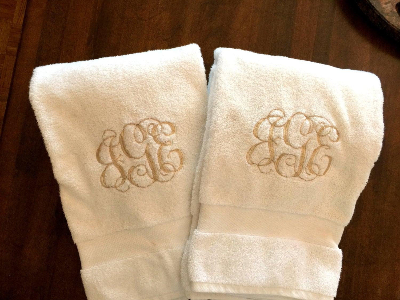 Monogrammed Bath Towel Set Monogrammed Towels Personalized