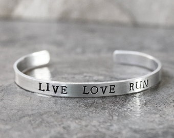 Live Love Run Bracelet, Love to Run Cuff Bracelet, Running, Track, 5k, Race, Half Marathon Runner Jewelry