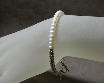 """White Freshwater Pearl, Sterling Silver & 14kt Bracelet - 7 3/8"""""""