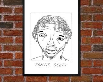 Badly Drawn Travis Scott - Hip Hop Poster - *** BUY 4, GET A 5th FREE***