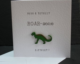 Dinosaur Birthday Card by Dotty Rainbow.  Funny dinosaur card.  Can be personalised.