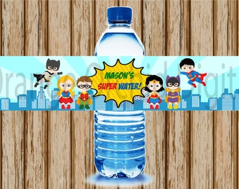 PERSONALIZED- Superhero Water Bottle Labels- Water Bottle Labels- Superhero Birthday Party- Superhero Labels- Print Your Own- Digital Image