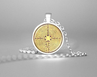 LABYRINTH JEWELRY CHARTRES Labyrinth Necklace on Parchment Labyrinth Necklace Sacred Maze Charm Sacred Geometry Pendant Spiritual Gold Gift