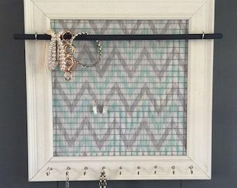 Jewelry Holder, Jewelry Organizer, Mint & Gray Chevron, Weathered White Frame with 9 Silver Hooks