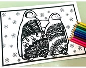 Penguin, Gin Doodle coloring page,Zentangle Digital Download Edition,Printable Coloring Page,Adults,Children,Animal,penguin couple