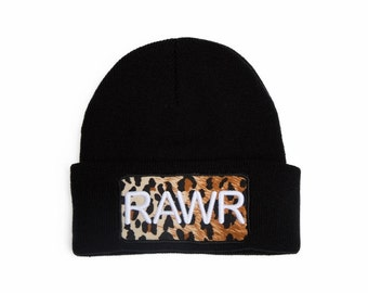 Custom Beanie with word Rawr 3D Embroidered Leopard Pattern Beanie Hat