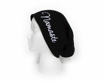 Slouchy Beanie with word Namaste Cursive Embroidered Beanie Hat