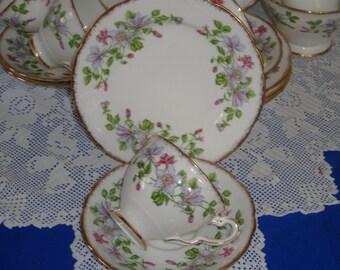 Vintage Royal Stafford COLUMBINE Tea Set  Hand Gilded