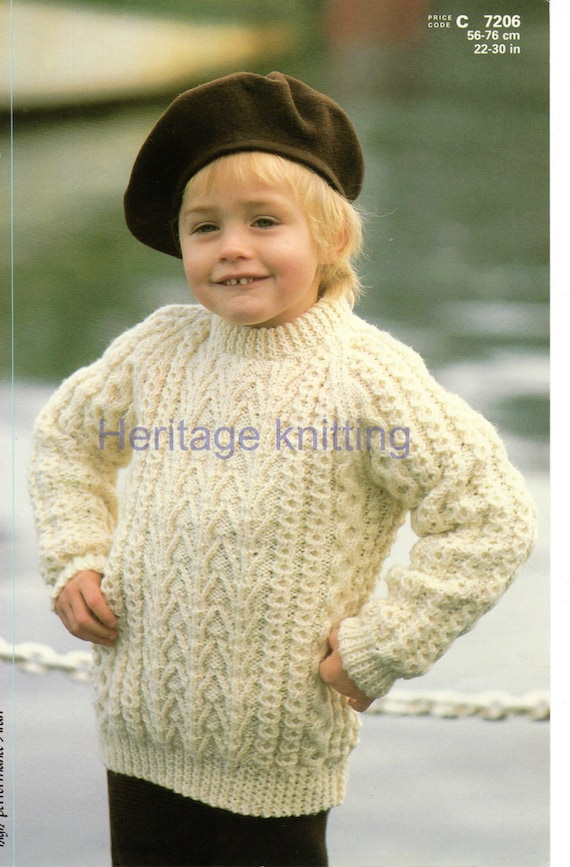 boys childrens aran sweater knitting pattern 99p pdf