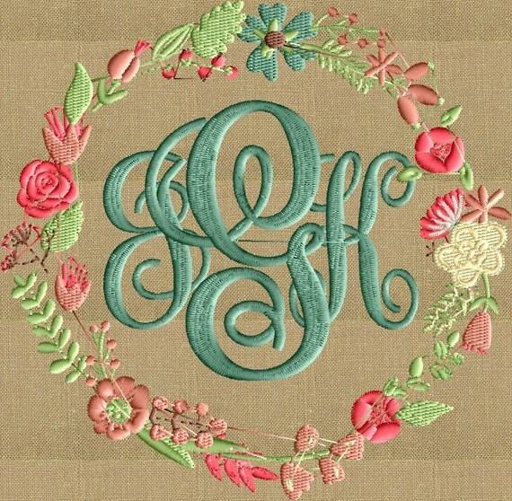 Shop Floral Monograms At Littlebrownnest Etsy Com: Floral Font Frame Monogram Embroidery Design Font By StitchElf