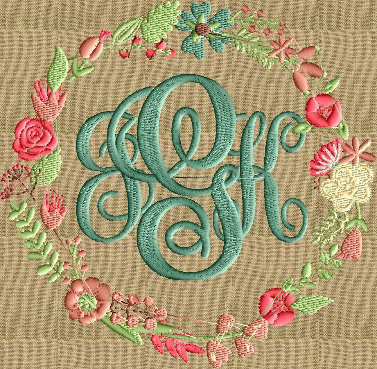 Floral Font Frame Monogram Embroidery Design Font Not