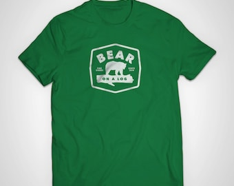 Bear On A Log American Apparel T-Shirt