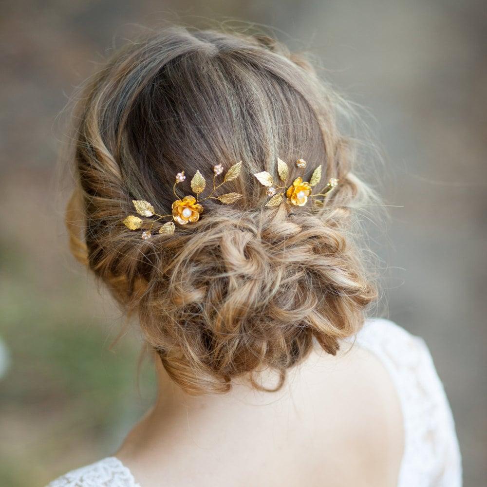 Flower Hair Pins For Wedding: Gold Flowers Wedding Hair Pins Flower Bridal Hair Pins Gold