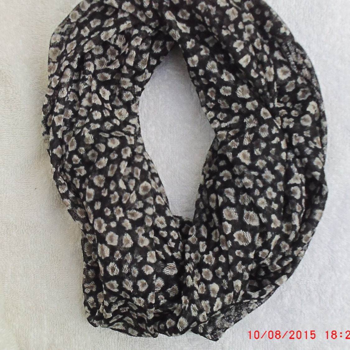 Animal Infinity Scarf, Black, Off White & Taupe Scarf, 8 x 72 ...
