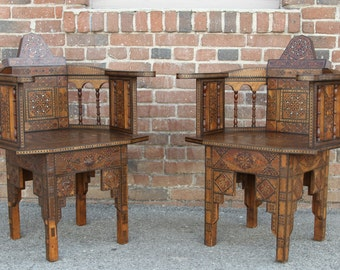 40% Off - Pair of Antique Syrian Chairs, Inlay chairs, Syrian chairs, Moroccan chairs, Antique chairs, Indian Chairs