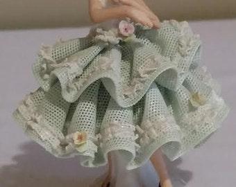 "Vintage Dresdan Sandizell Porcelain Ballerina 4"" Tall"
