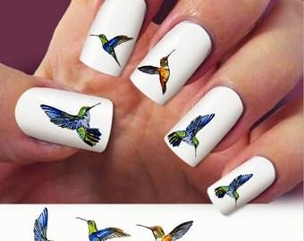 Hummingbird, nail art, 60 nail decals, Humming bird Nail Art design,  Water Slide nail Decals, #HM001