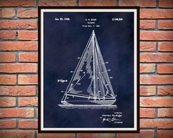 Patent 1935 Sailboat - Designed by Charles Edge - Art Print Poster - Boat - Ship - Nautical Wall Art - Marina Wall Art - Sailor Wall Art