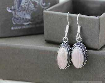 RHODOCHROSITE Vintage Filigree Setting 925 SOLID (Nickel Free) Sterling Silver Dangle Earrings E539